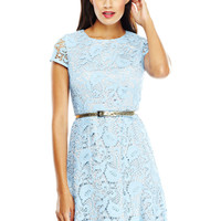 ELIZA J Blue Crochet Cap Sleeve Dress with Contrast Lining