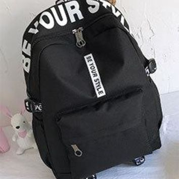 School Backpack Female Fashion Junior High  Letters Print School Bags for Girls Black Backpack Teenagers Canvas Schoolbag Mochila AT_48_3