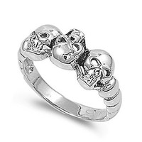 Sterling Silver Wedding & Engagement Ring Skulls Wedding Band Ring 9mm ( Size 5 to 15) Size 8