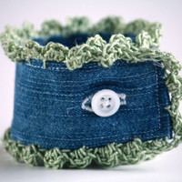Denim Cuff with Dusty Green Crocheted Scalloped Edge - Upcycle
