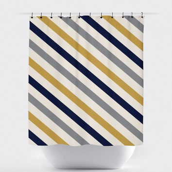 Cream/Mustard/Navy Diagonal Stripe Shower Curtain