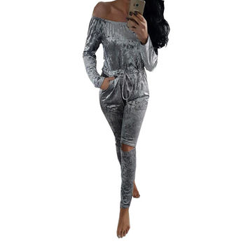 2017 Sexy One Piece Ladies Jumpsuits Rompers Off Shoulder Velvet Jumpsuit Women Slim Overalls Casual Long Pants Romper GV442