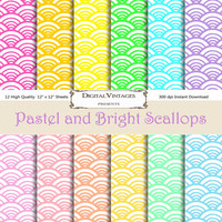 Pastel Digital Paper, Pastel Scallop, Bright Digital Paper, Wave Digital Paper, Scallop Digital Paper, Digital Papers, pattern digital paper