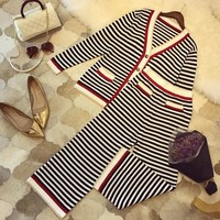 ONETOW Gucci' Women Temperament Casual Fashion Multicolor Stripe V-Neck Long Sleeve Knit Cardigan Wide Leg Pants Set Two-Piece