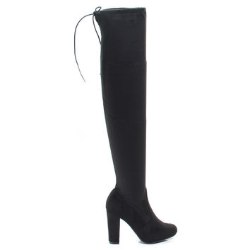 Hilltop20m BlackPU Pull-On OTK Over The Knee Block High Heel Dress Boots w Laced Back