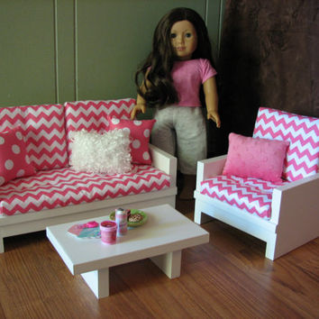 "American Girl sized Living Room / 18"" Doll Furniture - Loveseat / Chair / Coffee Table - Hot Pink Chevron - FEBRUARY 2014 SHIPPING ONLY"