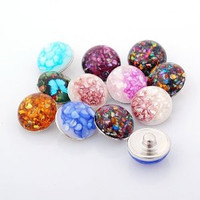 Mxed Set of Three Colorful Shell Chunks Snaps Buttons 18 mm