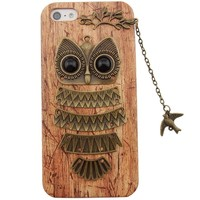 DADAWEN Unique Real Handmade Bird Chain Owl Hard Back Phone Case for iPhone 5 5S- Retail Packaging-Yellow