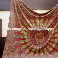 Queen Indian Cotton psychedelic star mandala tapestry wall hanging hippie bedding throw bedspread bohemian boho ethnic decor art mandala
