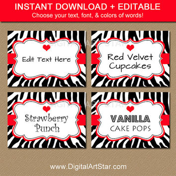Valentines Day Labels - Printable Valentine Candy Buffet Labels - EDITABLE Valentine Template - Black & Red Zebra Valentine Tent Cards RBCV