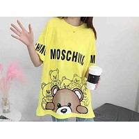 MOSCHINO Holiday Collection 2018 Women's Exquisite Bear Print Stylish T-shirt F-AA-SYSY yellow
