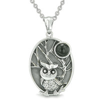 Amulet Owl and Wild Woods Magic Moon Charm Simulated Black Onyx Crystal Pendant 18 Inch Necklace