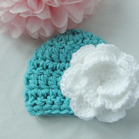 Ready to Ship New Crochet Newborn Turquoise and White Flower Beanie Hat Photo Prop Bring Home