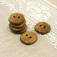 Wood buttons. Set of 6 handmade oak wood buttons size 1 in (25mm) - O1809