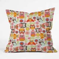 DENY Designs Valentina Ramos Cute Little Owls Throw Pillow, 16-Inch by 16-Inch