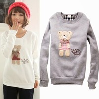 Women Lovely Cartoon Bear Holding Dog Crewneck Long Sleeve Fleece Sweats Tops