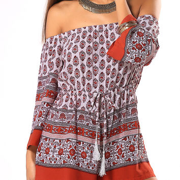Red Ethnic Strappy Tribal Pattern Romper