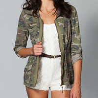 Ashley Camo Womens Anorak Jacket Camo Green  In Sizes