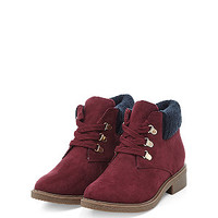 Teens Dark Red Suedette Knitted Cuff Ankle Boots