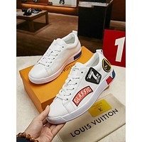 LV 2019 new personality versatile men's flat casual sports shoes White