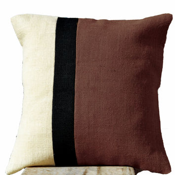 Burlap Taupe Pillow - Burlap Pillow color block - Taupe Decorative cushion cover- Throw pillow gift 18X18 - Taupe Euro Sham - Sofa pillow