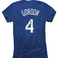 Alex Gordon 4 Kansas City Royals Majestic Threads Womens Player T-Shirt - Royal