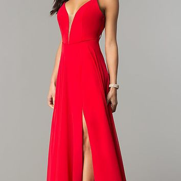 Deep V-Neck Open Back Long Prom Dress