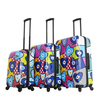 Evil Eye Hearts Hard Side Spinner Luggage 3PC Set