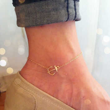 Little anchor anklet