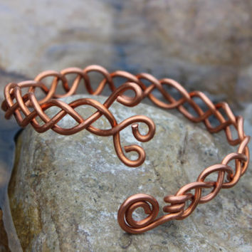 Braided Metal Copper Upper Arm Cuff, Tribal BOHO Earthy Hypoallergenic Metal Gift, Copper Jewelry, Copper Wire, Fall Fashion, Unisex Jewelry