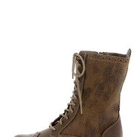 Dirty Laundry Paxton Distressed Taupe Brogue Lace-Up Boots