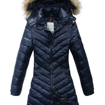Fur Collar Hood Zip Up Diagonal Striped Padded Long Coat
