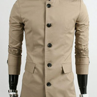 Button Design Stand Collar Long Sleeves Trench Coat