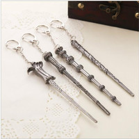 Harry Potter Magic Wand Key Chain Phalanx 4 Style Antique Silver Plated Charms Accessory Keychains