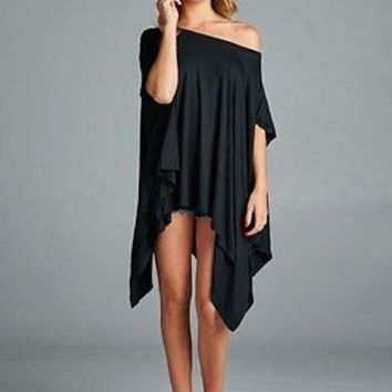 Cherish Piko Style Slouchy Short Sleeve Oversized Asymmetrical Tunic Black