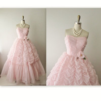 50s Prom Dress // Vintage 1950s Ruched Pink Chiffon Wedding Party Prom Dress XS