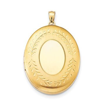 14K Yellow Gold-Filled Etched 2-Frame Oval Locket Pendant, 34mm x 28mm