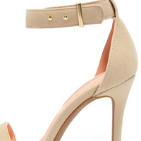 Play It Cool Nude Suede Ankle Strap Heels