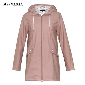 MS VASSA Women Trench coats 2018 New Ladies coat film coating rainning proof Turn-down collar with hood plus size 5XL 6XL