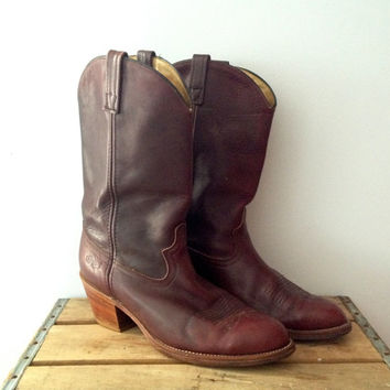Vintage Men's Cowboy Boots - Cherry Red Mahogany - Dingo Brand - SIZE 10 EW
