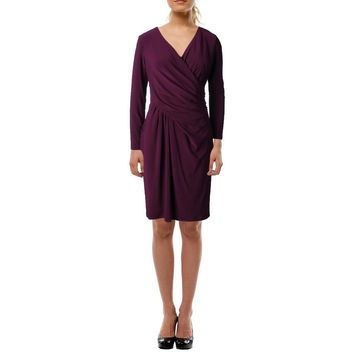 Lauren Ralph Lauren Womens Caitlyn Gathered Surplice Cocktail Dress