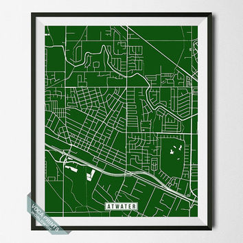 Atwater Print, California Poster, Atwater Poster, Atwater Map, California Print, Street Map, California Map, Wall Decor, Wall Art