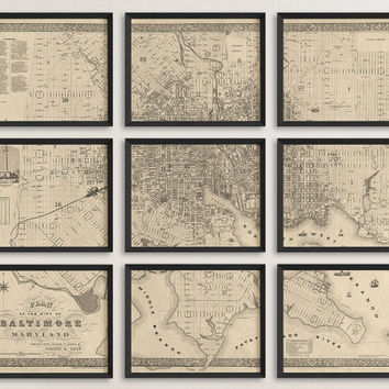 Antique Map of Baltimore, Maryland (1851) - Archival Reproduction - Set of 9 Prints