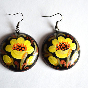 Wooden earrings with yellow flower Gift idea for her Black and yellow Flower jewelry Handpainted earrings Handmade Eco jewelry round earings