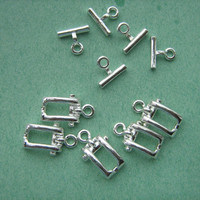 Toggle clasps silver tone rectangle clasps 5 sets