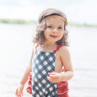 The Measure Navy Check Baby Girl Sunsuit