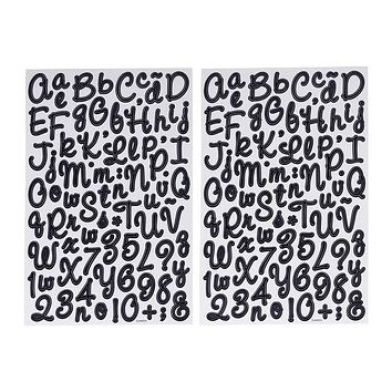 Chalkboard Font Alphabet Stickers, Italic, 7/8-Inch, 2-Sheets