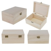 10pcs Unfinished Wood Crafts Jewelry Box Treasure Small Storage For Jewellery Postcards Makeup