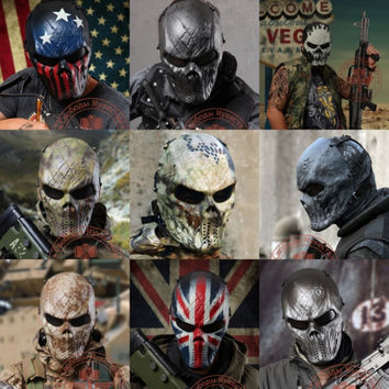 1PCS Airsoft Paintball Outdoor CS Wargame Full Face Protection Skull Mask Antifaz Fiesta Halloween Party Carnaval Masquerade
