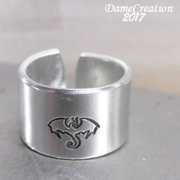 Dragon Ring - Dragon Jewelry - Medieval Jewelry - Mens Gifts - Wide Band Ring - Viking Jewelry - Flying Dragon - Fantasy Ring